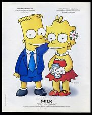 1997 The Simpsons Bart Lisa Simpson art Milk mustache vintage print ad