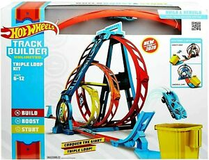 Hot Wheels GLC96 Track Builder Unlimited Triple Loop Kit, NEW 2020 SET