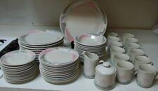 Ciera Fine Dinnerware Stoneware 62 Piece Set Pink Rose Plates Bowls Cups