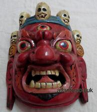 M489 Protector de mano artesanal MAHAKALA Bhairav regalo Máscara de madera colgante de pared Nepal