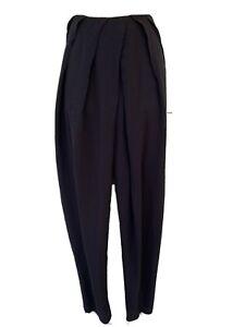 🤍 Designer Willow   Black Silk Tapered Leg Front Tuck Pants   Size 10 RRP $495