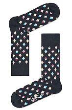 Happy Socks Grey Mini Diamond Design UK 4 - 7 Unisex Ladies Cotton Socks Gift