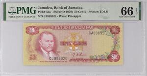 Jamaica 50 Cents 1960 / 1970 P 71 Gem UNC PMG 66 EPQ High