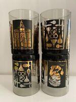 4 Vtg. General Electric 100th Anniversary black rocks glasses barware 1878-1978