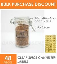 48x Clear Spice Herb Jar Canister Tupperware Pantry Self Adhesive Label Stickers