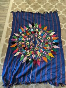 Hand Embroidered Mexico Mexican South American Guatemala Ethnic Boho Rug Floral