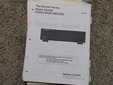 HARMAN KARDON PA2200 STEREO POWER AMPLIFIER ORIGINAL SERVICE TECHNICAL MANUAL