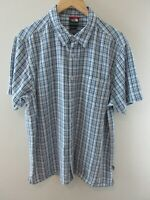 The North Face Mens Shirt Size L Short Sleeve Button Up Regular Fit Check Blue