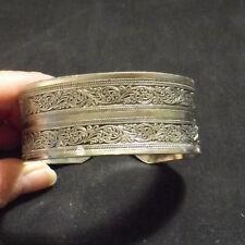"Tibet Silver Totem Bangle Cuff Bracelet  1"" wide"