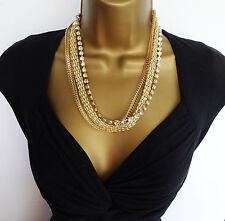 FAB Gold Tone Multi Catena Collana con Diamante Set 3 paia di orecchini