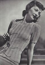 Vintage Knitting PATTERN to make 40s Cable Yoke Pullover Sweater Short Sleeves