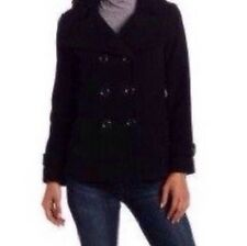 Kenneth Cole Wool Blend Coat Double Breasted Black Size 10, BNWT