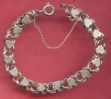 """Vintage Sterling Charm Bracelet - Hearts Row and Safety Chain - 6 1/2"""""""