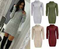 Womens Ladies Polo Roll Neck Cable Knitted Bodycon Jumper Dress Top Size UK 8-14