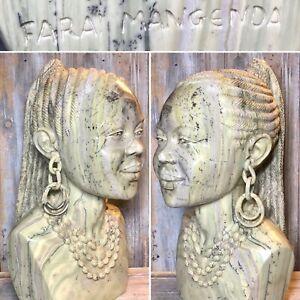 """Farai Mangenda """"African Queen"""" 18"""" Shona Butter Jade Stone Sculpture AFRICA"""