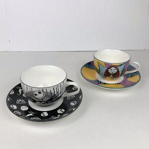 Disney Nightmare Before Christmas Jack & Sally Tea Set Cups & Saucers