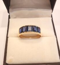 14 K Solid Gold Natural Blue Sapphire Gem Stone Band Ring Jewelry Us Size 7 8 9