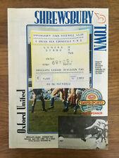 Shrewsbury v Oxford Utd  1988/89 - Programme & Ticket