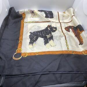 Adrienne Vittadini Silk Scarf 36 x 34 Dog Breeds Dalmatian Poodle Terrier Beagle