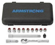 New ARMSTRONG 1/4 Drive Ratchet Thru Hole Socket Set