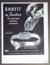 1945 Komfit Watch band by Forstner vintage print ad