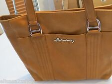 B. Makowsky soft leather purse tote hand bag organizer computer laptop tan brown