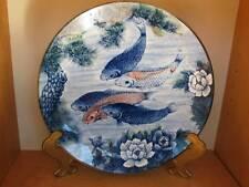 "SUN CERAMICS Koi Goldfish Plate Charger 12.5"" Made in Japan Blue Orange"