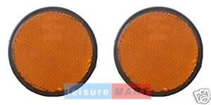 Pair of Amber / Orange Reflectors Self Adhesive Round Trailer Side Reflectors
