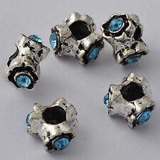 5pcs Blue Rhinestone Spacer Stopper Beads Silver European Charms For Bracelet