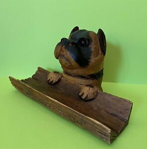 Hand Carved Wood Black Forest DOG w/Glass Eyes INKWELL & PEN TRAY German Antique