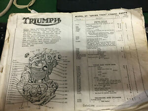 Vintage motorcycle service parts book Triumph model 5T Speed Twin engine tool.