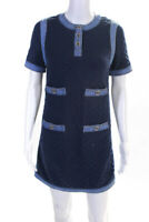 Chanel Womens SS 2020 Denim Trim Crystal Button Shift Dress Blue Size 34 EUR