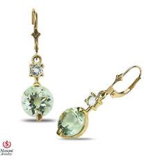 Green Amethyst Chandelier Earrings in Solid 10k Yellow Gold February Birthstone