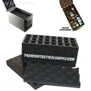 50 Cal Ammo Can 24 Pistol Magazine Holder Foam Insert for Steel Caliber Storage