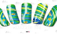 NAIL Art Adesivi Acqua Decalcomanie Trasferimento Piume di Pavone BIRD (dc199)