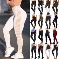 Women's High Waist Yoga Pants Mesh Leggings Push Up Sports Fitness Running Gym G