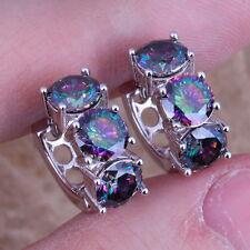 Captivating Rainbow Mystic Topaz 925 Sterling Silver Huggie Hoop Earrings Women