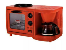 Red Multifunction Mini Breakfast Station Toaster Oven Coffee Maker Hot Griddle