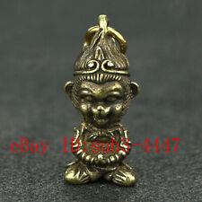 Chinese Handmade Copper  Brass Monkey King Small Fengshui Statue Pendant