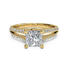 Certified 1.05Ct Moissanite Engagement Band 14k Yellow Gold Womens Rings Size N