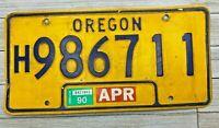 Vintage Yellow & Blue Oregon License Plate