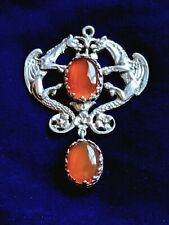 Antique Carnelian Gargoyle Silver Pendant Peruzzi Gothic Style
