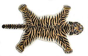 Hand Tufted Wool Carpet Tiger Mat Animal Rug Tiger Skin Area Rug  90'x155' Cm