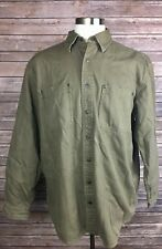 LL Bean Men's L Full Button Front Light Brown Outdoor Working Jacket, 100%Cotton
