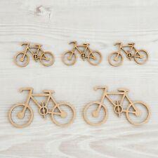 6x Bici Bicicleta Madera Mdf Artesanía Embelishments Forma De Corte Láser Mdf 5cm/50mm Nuevo