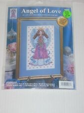 """Design Works Angel of Love Counted Cross Stitch Kit with Pearls 8"""" x 13"""" 9992"""
