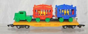 RESTORED American Flyer #643 Yellow Wood Circus Flatcar w Lion/Zebra Cages+Truck