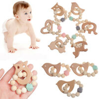 Elephant Rabbit Beech Wooden Silicone Beads Rattles Baby Teething Toys Bracelet