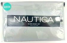 NAUTICA 200 Thread Count 100% Cotton Solid - 4 Piece Grey Queen Sheet Set NEW