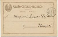"SCHWEIZ ""BERN / FILIALE"" K2 5 C braun GA-Postkarte n. Neuchâtel, 1874 - ABART"